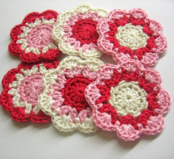 flower motifs appliques in pink red and cream set of six