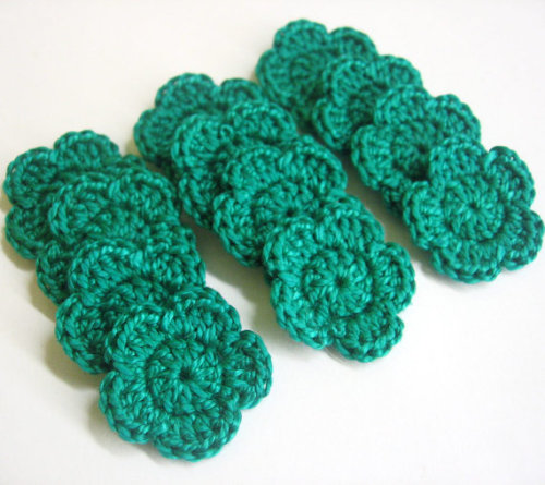 Handmade crocheted cotton tiny flower appliques set of twelve jade green on