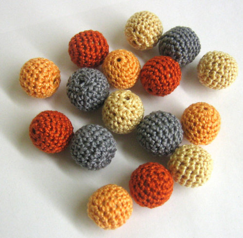 Crocheted beads 18mm handmade round set of 16, yellow gray orange mix