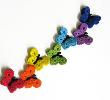 Crocheted Butterfly Appliques Handmade 7 pieces rainbow mix  (A10039)