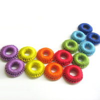 Crocheted hoops handmade wood beads in rainbow shades, 1 inch wide, 14 pc (B20033)