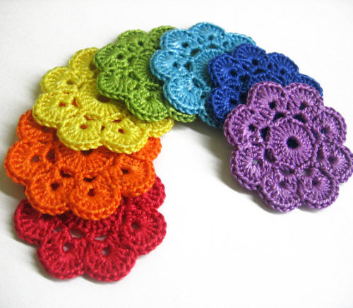 Handmade Crocheted Flower Appliques Motifs in rainbow shades, 7 pc, 2 inche
