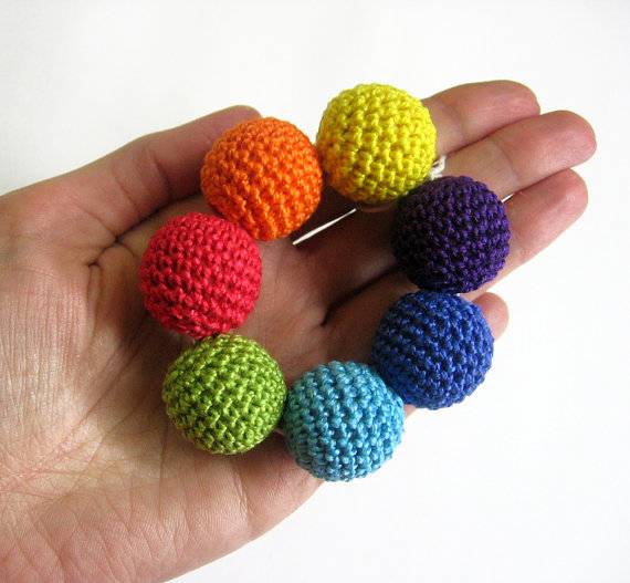 Crocheted beads 22mm 7pc handmade round rainbow