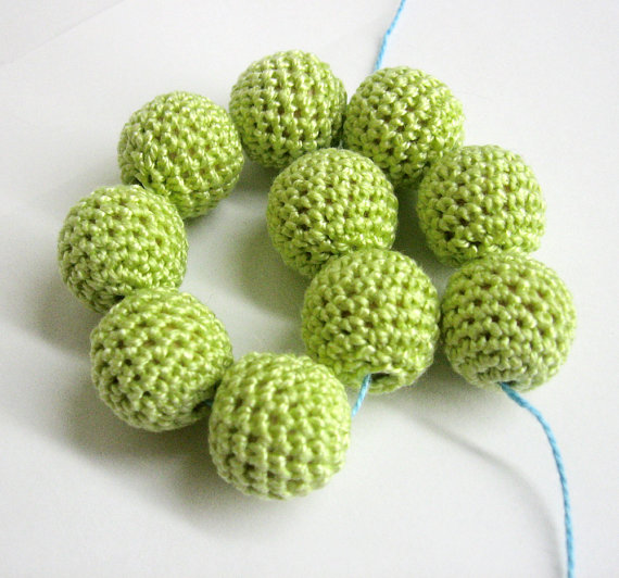 Crocheted beads 20 mm light midori green handmade round cotton on wood