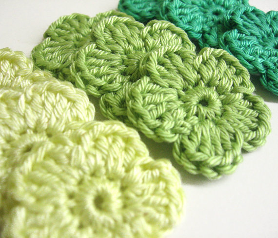 Handmade crocheted cotton flower appliques set of nine green shades