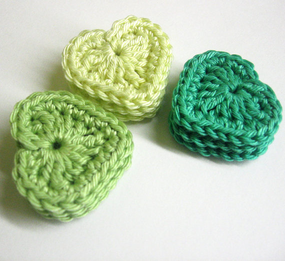 Handmade crocheted cotton hearts set of nine mint green sea green yellow