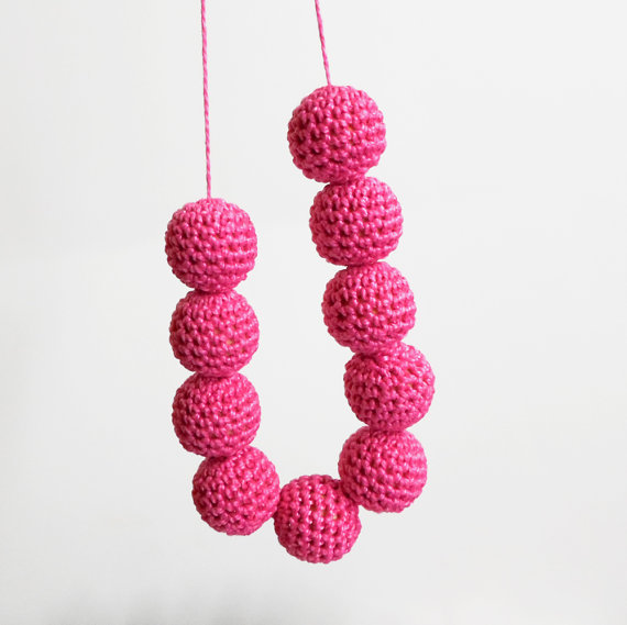 Crocheted beads 20 mm hot pink handmade round cotton on wood