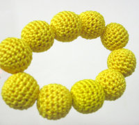 Crocheted beads 20 mm handmade yellow round (B20021)