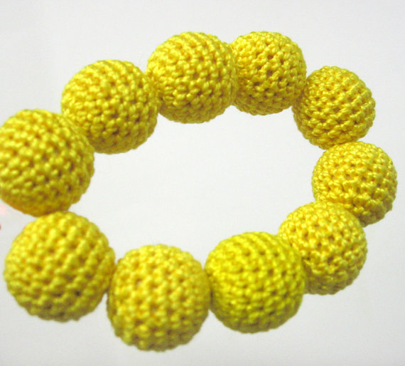 Crocheted beads 20 mm handmade yellow round