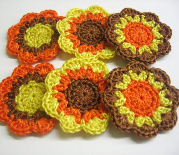Handmade cotton flower motifs appliques in orange yellow, brown, 6pc.
