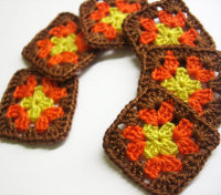 Handmade crocheted granny square appliques yellow orange brown 1,5 inches (A10048)