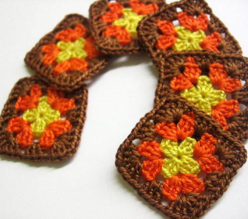 Handmade crocheted granny square appliques yellow orange brown 1,5 inches