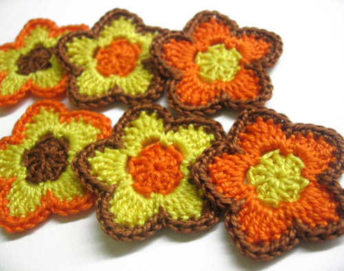Crochet flower appliques in orange, yellow and brown set of six
