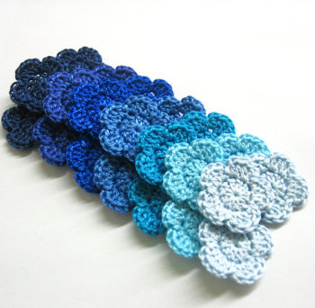 "Handmade crocheted cotton tiny 1"" flower appliques, blue mix, 12 pc. (A10059)"
