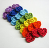 Crocheted tiny hearts 0.8 inches colorful appliques, rainbow set of 21 (A10027)