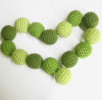"Crocheted beads 20 mm (3/4"") handmade round shades of green set of 15 (B20022)"