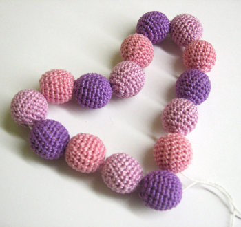 Crocheted beads handmade round 20 mm purple pink lavender set of 15 (B20023)