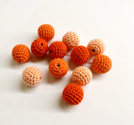 Crocheted beads handmade round orange and pink 20 mm set of 12