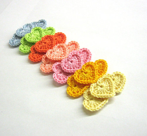 Crocheted tiny hearts 0.8 inches colorful appliques