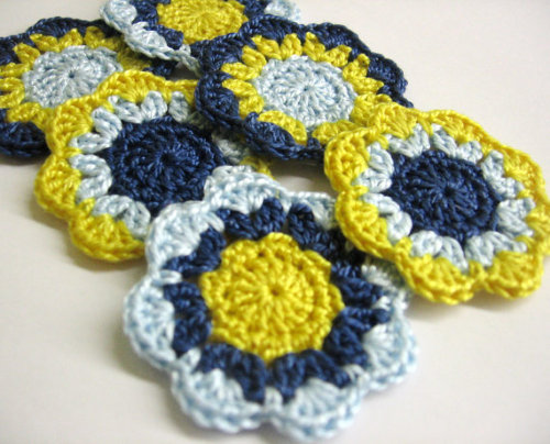 Blue and yellow flower motifs, set of six