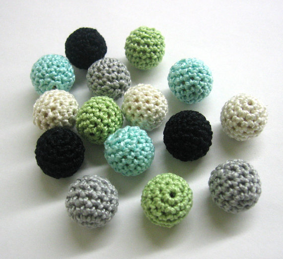 Mix of green, gray, blue beads, 15 pc.