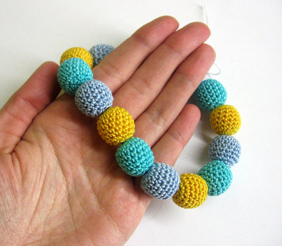 Crocheted beads, yellow and blue mix, 15pc.