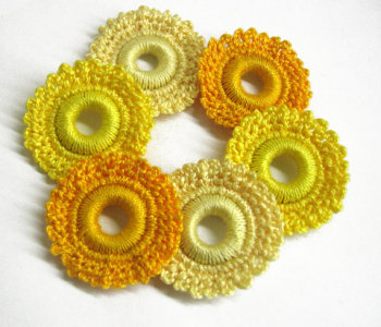 Crocheted hoops handmade wood beads in yellow 1,6 inches, 6pc (B20035)