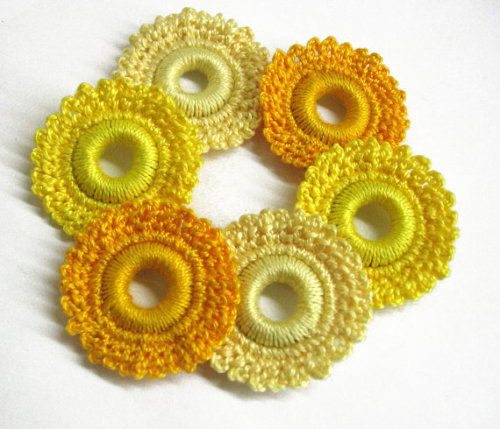 Crocheted hoops handmade wood beads in yellow 1,6 inches, 6pc