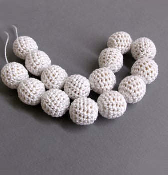 Crochet beads 18 mm white 15 pc (B20014)