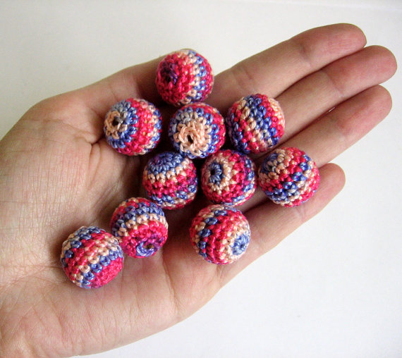 Crocheted beads 18mm handmade round striped in blue and pink set of 10