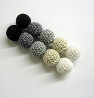 Crochet beads 20 mm handmade round black, white, gray and ecru balls, set of 10 (B20028)