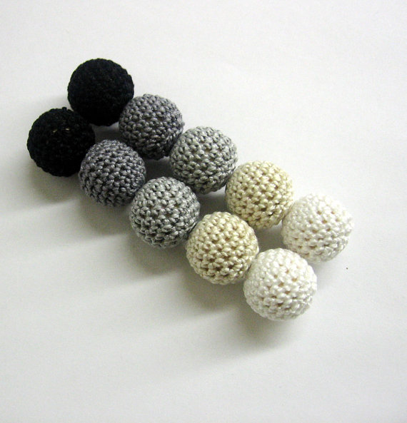 Crochet beads 20 mm handmade round black, white, gray and ecru balls, set o
