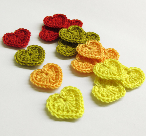 Crocheted hearts 1/2 inch,colorful tiny appliques, set of 12