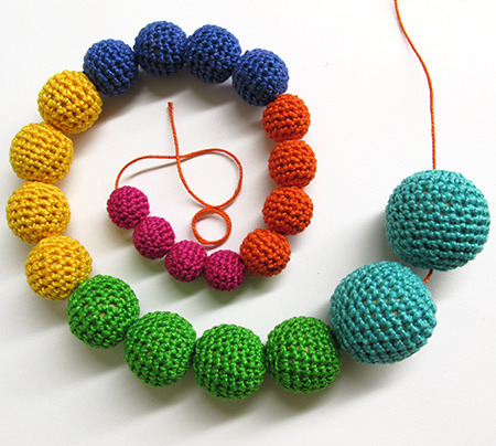 crocheted beads in different sizes