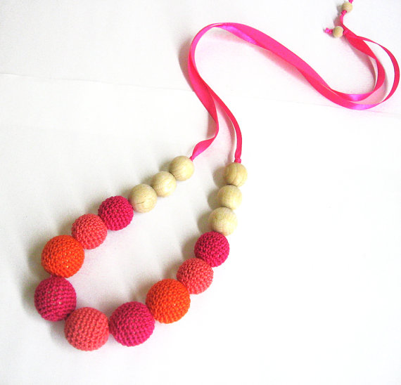 Nursing necklace with crocheted beads