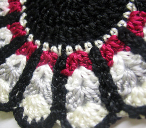 Crocheted large applique in black, maroon, gray, white, 4 inches, 1 pc. (A1