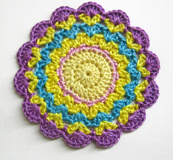 Crocheted flower motif applique in purple, yellow, blue, 3 inches wide, 1pc