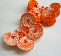 Crocheted Butterfly Appliques 2pc in peach pink and orange 3 inches wide (A10012)