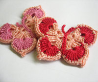 Handmade Crocheted Butterfly Appliques in pink and red set of 2 (A10013)
