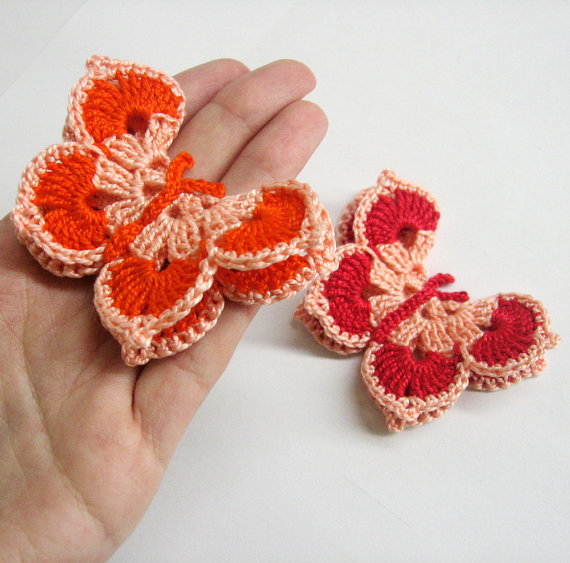 Crocheted Butterfly Appliques 2pc in peach pink, red and orange 3 inches wi