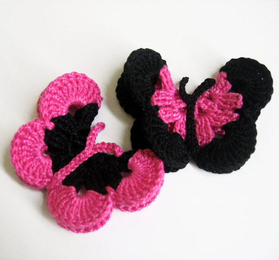 Crocheted Butterfly Appliques 2pc in hot pink and black 3 inches wide (A100