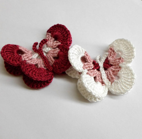 Crocheted Butterfly Appliques 2pc in white and burgundy red, 3 inches wide