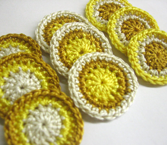 Handmade crocheted cotton circle appliques set of 9 brown yellow ecru 1 inc