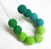 Crochet beads 20 mm 10pc handmade round, green mix (B20038)