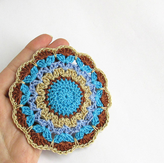 Crocheted mandala motif, applique in brown and blue, 3,5 inches wide, 1 pc.