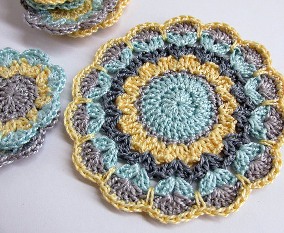 Crocheted flower motif, mandala applique in gray, blue, yellow 3,5 inches w