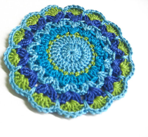Handmade crocheted flower motif applique in green and blue shades 3,5 inche
