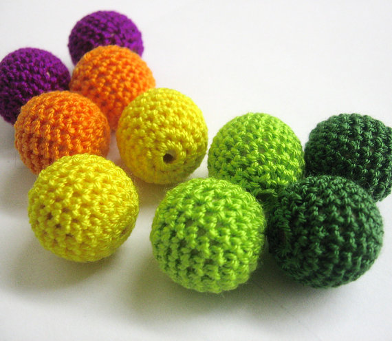 Crocheted beads 22mm 10pc handmade round green, yellow, orange and purple (
