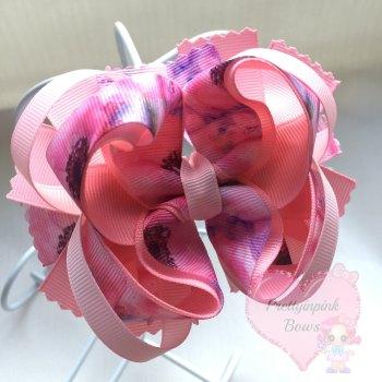 Princess Bow - Watercolour Flowers ~ On Croc Clip