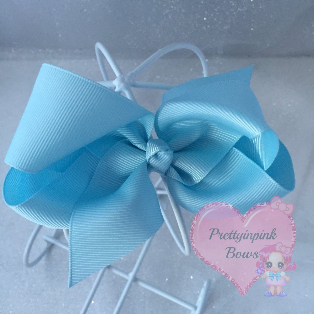 "4"" Boutique Bow On Croc Clip ~ Light Blue"